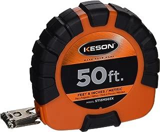 Keson ST18M503X Closed-ABS Housing Steel Tape Measures, Speed Rewind (Graduations: ft, in, 1/8 & cm, mm), 50-Foot / 15M