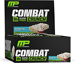 MusclePharm Combat Crunch Protein Bar, Multi-Layered Baked Bar, Gluten-Free Bars, 20 g Protein, Low-Sugar, Low-Carb, Gluten-Free, Birthday Cake Bars, 12 Servings