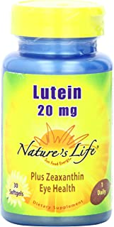 Nature's Life Lutein 20mg   30 ct