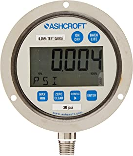 Ashcroft Type 2089 Stainless Steel Case Dry Filled Precision Digital Test Gauge, Stainless Steel Socket and Sensor, Front Flange Mounting, 3