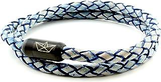 Paper-Ship Armband Neapel V - Doppelt-gewickelt, Blaues geflochtenes 5mm Lederarmband mit Magnetverschluss in Schwarz