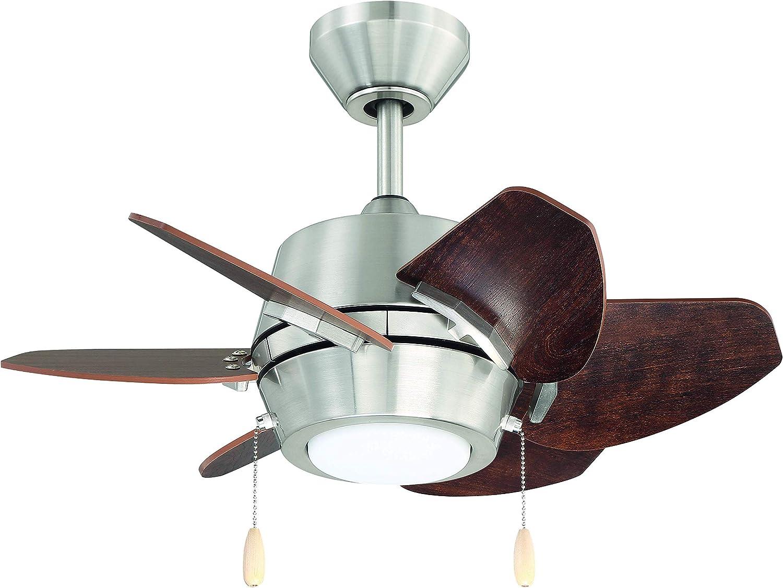 Litex Industries Ga24bnk6l Litex Gaskin Sleek 24 Ceiling Fan Brushed Nickel Finish With 6 Glazed Cherry Driftwood Reversible Blades Ul Rated Amazon Com
