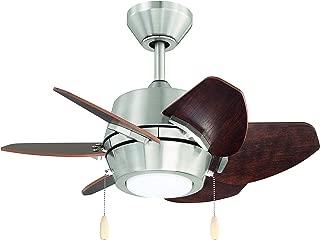 "Litex Industries GA24BNK6L Litex Gaskin Sleek 24""Ceiling Fan Brushed Nickel Finish with 6 Glazed Cherry/Driftwood Reversible Blades, UL Rated"