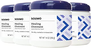 Amazon Brand - Solimo Healing Ointment Skin Protectant for Dry and Cracked Skin, Fragrance Free, 14 Ounce (Pack of 4)