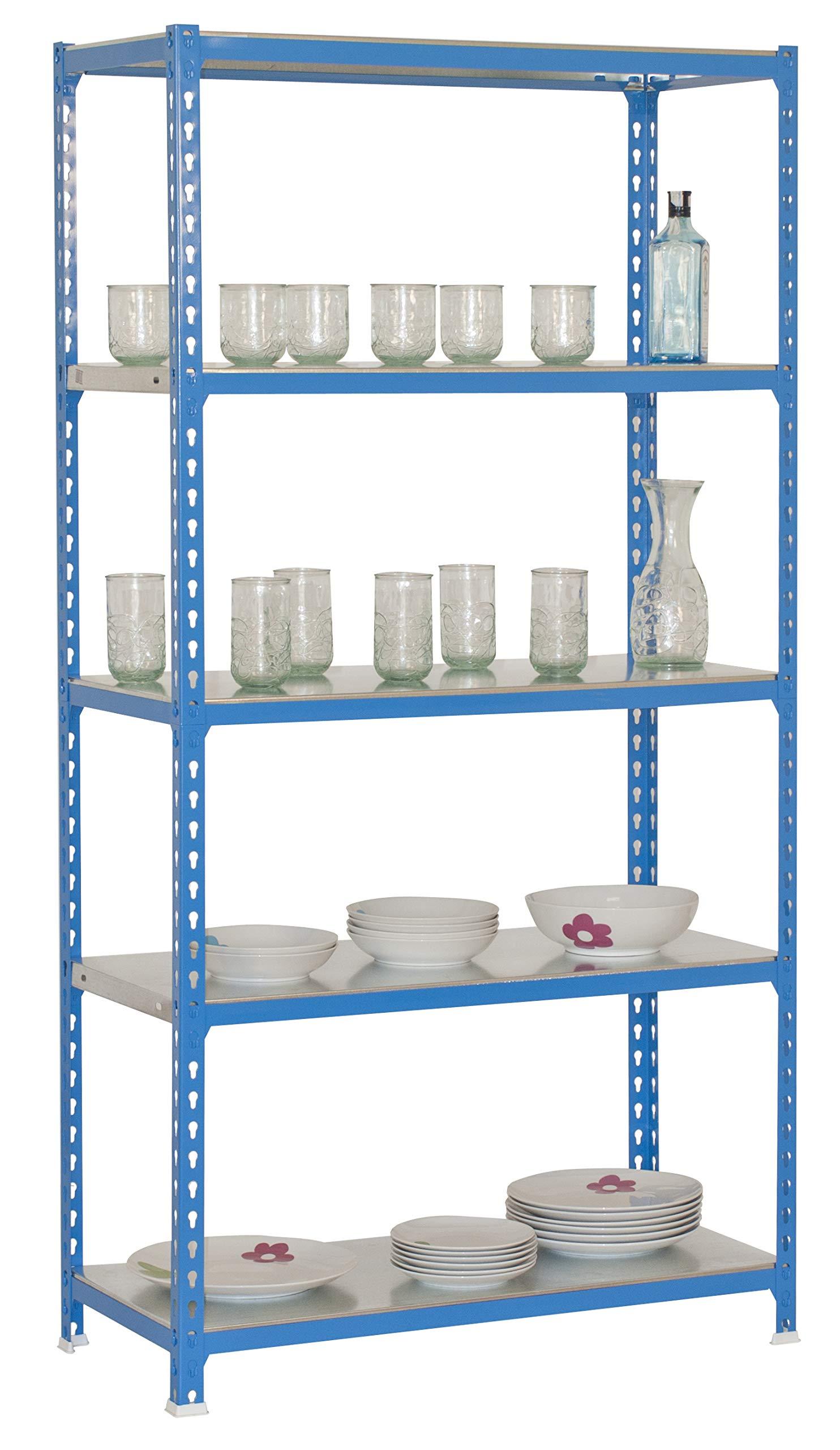 Azul//GALVA 1800 x 900 x 500 mm SimonRack SI407 Kit Estanter/ía con 5 Estantes