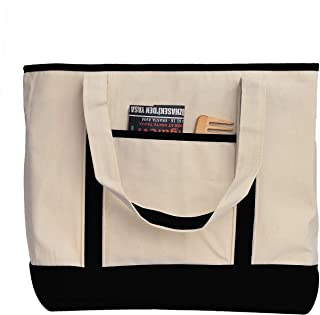 Heavy Canvas Two-Tone Boat Tote Bags with Front Pocket for Beach, Grocery Shopping, Travel by TBF Bags (Set of 2) (Black, Large)