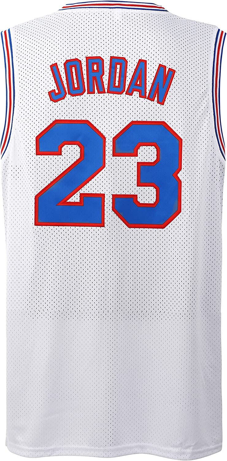 Tocament Mens 23# Space Movie Jersey Basketball Jersey 90S Hip Hop Stitched Clothing for Party White/Black/Blue/Red: Clothing