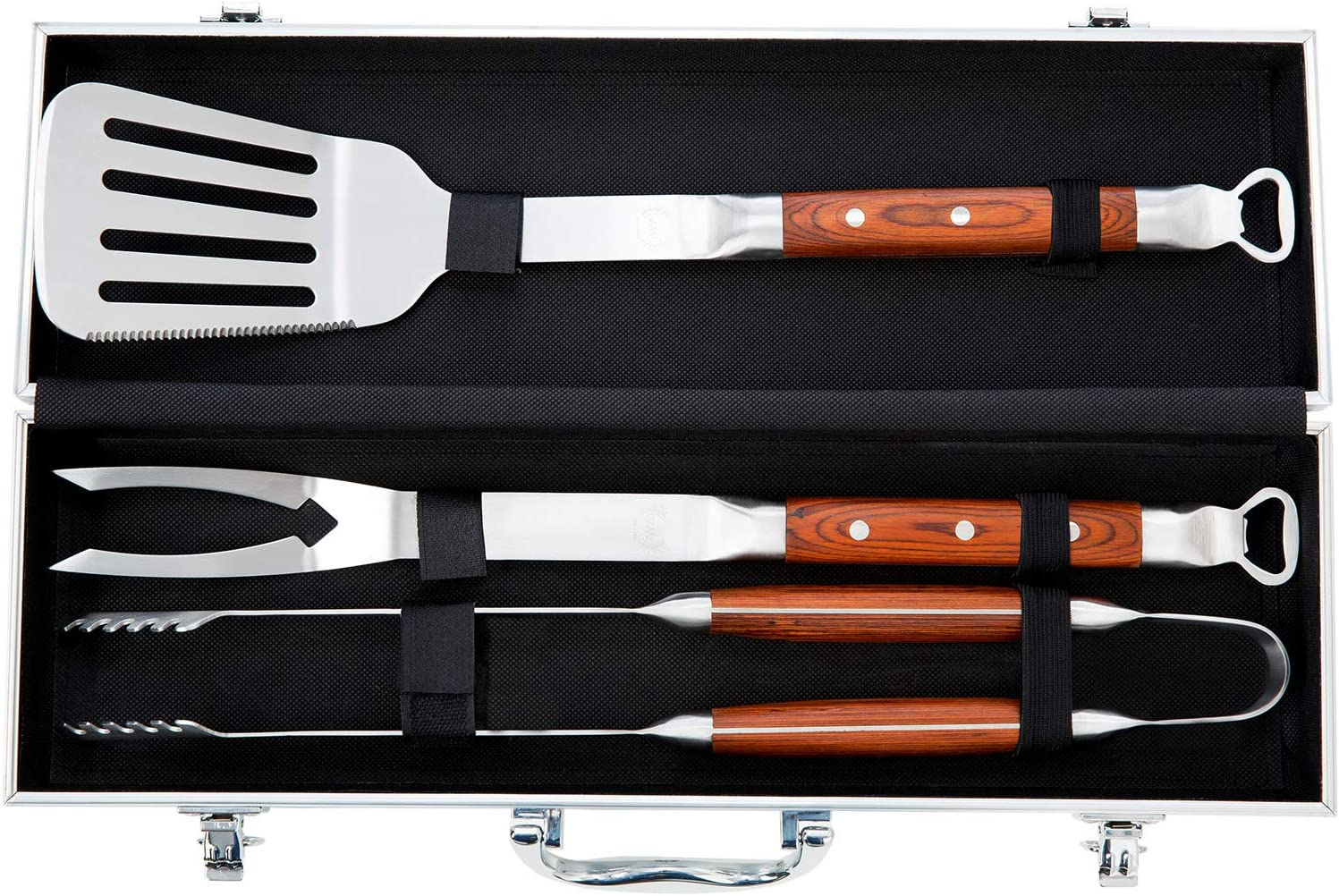 BBQ Tool Set – Grill Tool Set 3pcs – Grill Utensil Set Stainless Steel with Rosewood Handles – BBQ Tool Kit Gift with Carry Case – WareWorks BBQ Utensil Set for Home, Grill, Camping, Travel : Garden & Outdoor