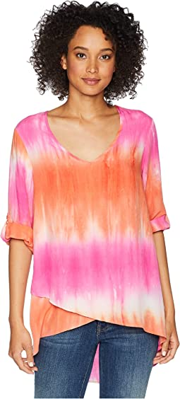 Printed Rayon V-Neck Crossover Hem Top