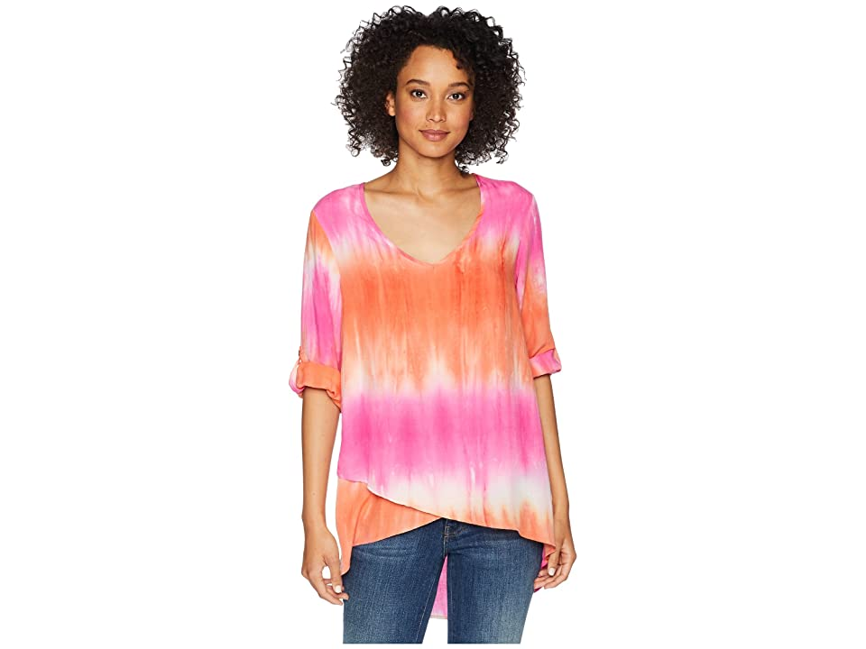 Mod-o-doc Printed Rayon V-Neck Crossover Hem Top (Pink Tie-Dye) Women
