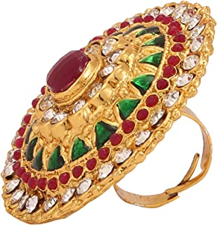 65014755c7 Yellow Chimes Cocktail Traditional Gold Plated Ring for Women  (Green)(YCTJRG-03STN