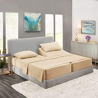 Nestl Bedding Soft Sheets Set – 5 Piece Bed Sheet Set, 3-Line Design Pillowcases – Easy Care, Wrinkle Free – 2 Fit Deep Pocket Fitted Sheets – Free Warranty Included – Split King, Beige