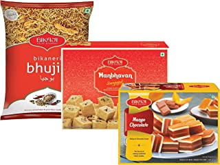 Bikaji - Indian Diwali Festive Gift Box - Diwali Special Sweets & Snacks - Manbhavan Soan Papdi, Mango Chocolate Mithai, Bhujia