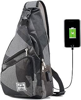 Sling Bag for Men Crossbody Shoulder Chest Bags Nylon for Travel Gym Sport Hiking with USB Charger Port