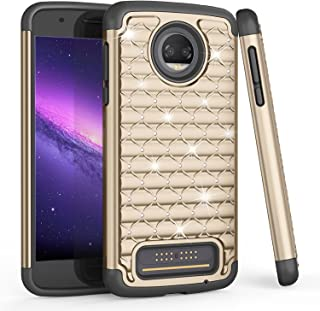 Moto Z2 Force Case, TILL(TM) Studded Rhinestone Crystal Bling Diamond Sparkly Luxury Shock Absorbing Hybrid Defender Rugged Glitter Cute Case Cover for Moto Z2 Force Edition/ Z2 Force Droid 2017- Gold