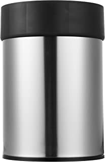 AmazonBasics Stainless Steel Trash Waste Can with Lid, Black