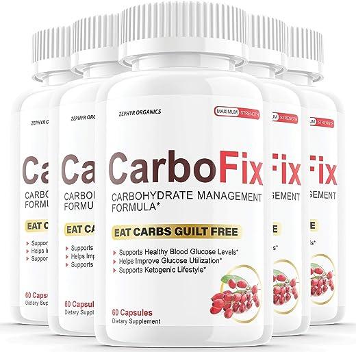 (5 Pack) Carbofix Pills Supplement Tea Reviews Gold Solo Vida Carbo Fix (300 Capsules)