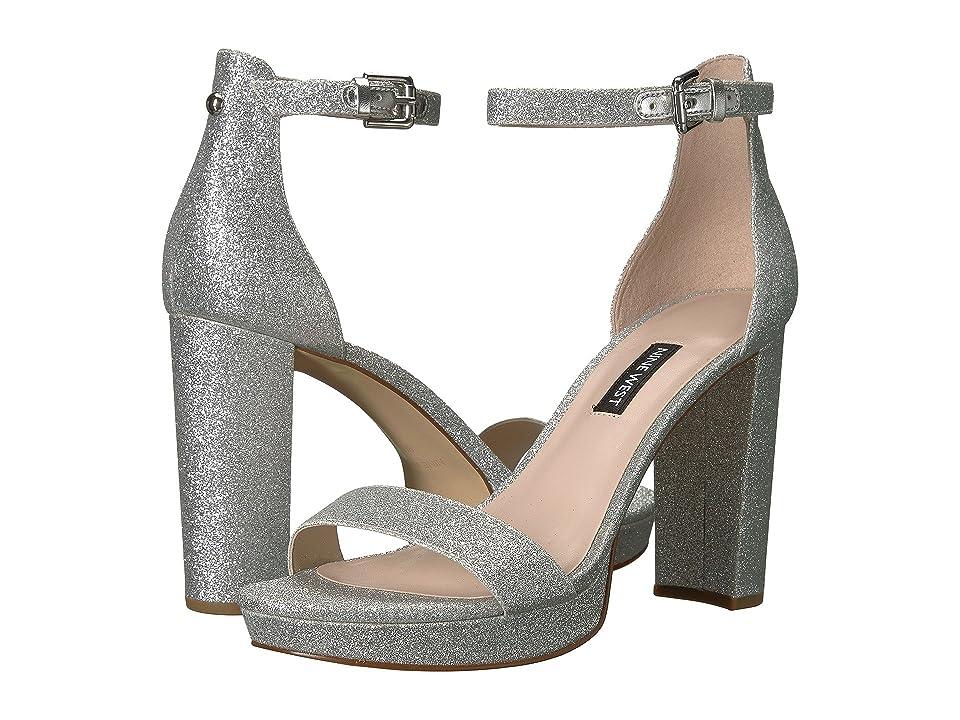 Nine West Dempsey Platform Heel Sandal (Silver Synthetic) Women