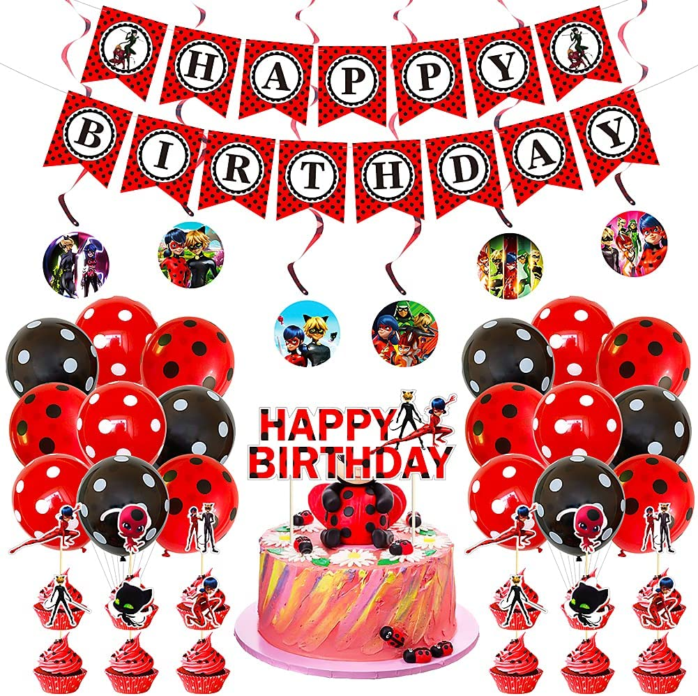 Cumpleaños Decoración Set Hilloly 36 PCS Feliz Decoracion Cumpleaños Kit de Decoraciones de Cumpleaños Decoración Cumpleaños de Globos Aplicar a fiestas, carnavales, fiestas