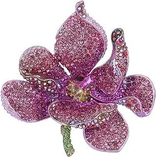 Women's Austrian Crystal Orchid Flower Petal Brooch