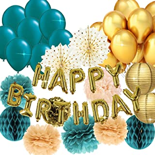 Teal Gold Birthday Decorations for Women Gold Happy Birthday Balloons Polka Dot Fans Teal Gold Ballons for Teal Gold Birth...