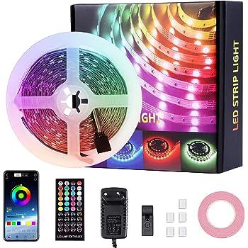 MOZC Striscia LED 5M, Flash con Musica, Controllata da APP & IR Telecomando, 5050 RGB 150 LEDs Strisce LED per Camera da Letto, TV, Festival Decorazioni (BT-5m)