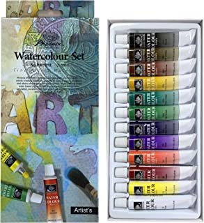 PHOENIX Watercolor Paint Set of 12 Colors x 12 ml - Non-Toxic Paints in Tubes for Kids, Students, Beginners & Artists