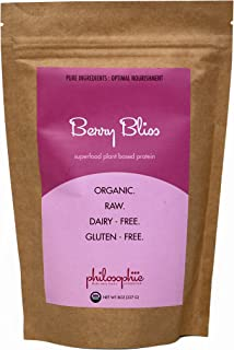 Philosophie: Berry Bliss Superfood Protein Powder - Vegan Protein Powder - 8 oz - Natural, Caffeine Free Boost of Energy, Low Carb Superfood, Sustained Release For Daily Balance