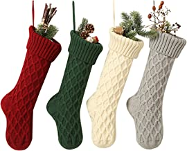 SherryDC Cable Knit Christmas Stockings, 4 Pack 18 inches Large Personalized Fireplace Hanging Stockings for Christmas Dec...