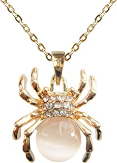 18k Gold Plated Opal Crystal Spider Pendant Necklace 16