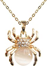 Navachi 18k Gold Plated Opal Crystal Spider Pendant Necklace 16