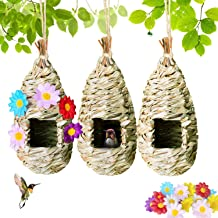 Raxurt Hummingbird House, Hand Woven Birdhouses for Outside Hanging with Artificial Flowers, Outdoor Bird Nest Hut for Aud...