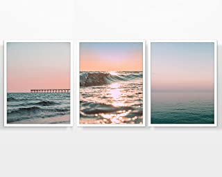 Sunset and Sunrise Beach Themed Photography Prints, Set of 3, Unframed, Ocean Pier, Dock, Waves, Coastal, Wall Art Decor Poster Sign, 8x10 Inches