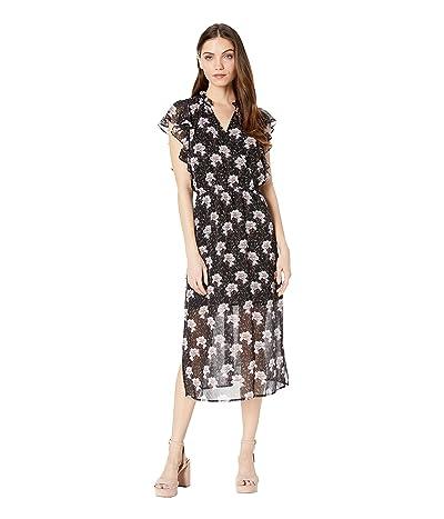 1.STATE Bloomsbury Floral Flounce Sleeve Midi Dress (Rich Black Multi) Women