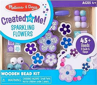 Melissa & Doug Sparkling Flowers Wooden Bead Set (45+ Beads, 3 Lacing Strings)
