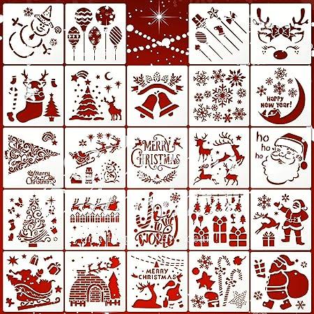 24 Pièces Modèle de Pochoirs de Noël Pochoirs de Peinture Artisanale en Plastique Réutilisables pour Modèle de Journal, Projets de Bricolage de Cartes de Noël (Motif Mignon)