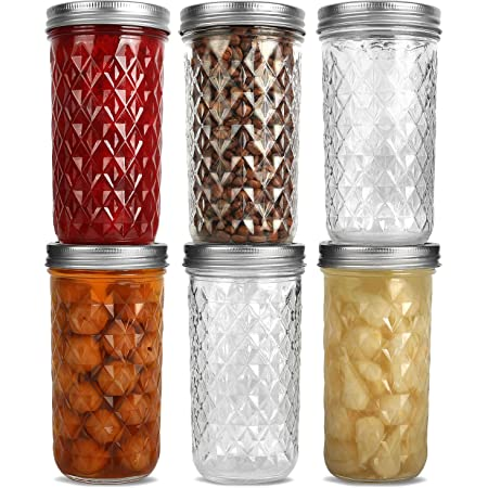 Wide Mouth Mason Jars 22 oz, VERONES 22 OZ Mason Jars Canning Jars Jelly Jars With Wide Mouth Lids, Ideal for Jam, Honey, Wedding Favors, Shower Favors 12 PACK