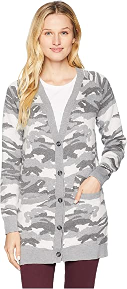 Button Front Camo Cardigan Sweater
