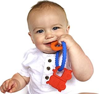 Nuby Chewy Charms Boy/Train and Key Silicone Teether, Blue/Red/Green