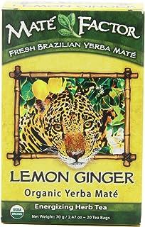 The Mate Factor Yerba Mate Energizing Herb Tea, Lemon Ginger, 20 Tea Bags (Pack of 3)