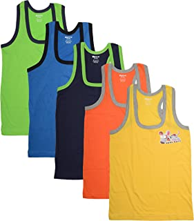 DORA Boys Cotton Cute Cool Vest Assorted Color Style 1510 (Color May Vary) (Pack of 5)