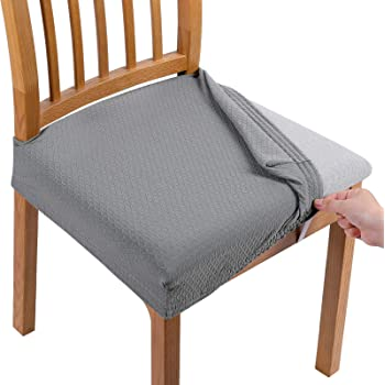 Amazon Com Smiry Stretch Jacquard Chair Seat Covers For Dining Room Removable Washable Anti Dust Chair Seat Protector Slipcovers Set Of 4 Light Grey Kitchen Dining