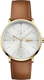 Lacoste Men's Silver Dial Color Leather Strap Watch - 2010977