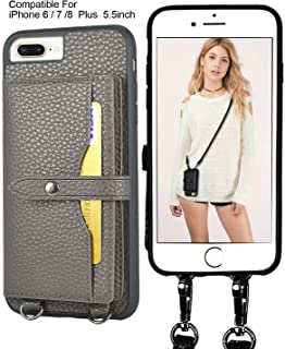 iPhone 8 Plus Crossbody case, iPhone 7 Plus Wallet Case 4 Credit Card Holder Leather Case with Detachable Crossbody Strap for Women Card Case Compatible iPhone 8/7 / 6 Plus 5.5inch