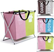 Smile Mom Twin Section Laundry Basket/Bag/Hamper (121 Litre) for Clothes with Foldable Aluminium Frame, Best for Home Bathroom Bedroom (Pink - Green)