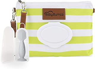 Diaper Clutch Bag and Mini Rash Cream Applicator with Travel Case, Soft Flexible Silicone - Water Resistant; Lightweight; Refillable Wipes Dispenser; Portable Changing Kit (Vibrant Green + Gray)