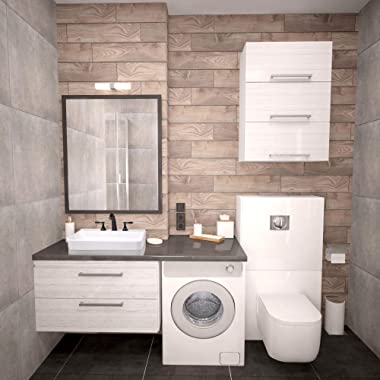 """Aquaterior 23"""" Rectangle Drop in Bathroom Sink White Ceramic Above Counter Semi Recessed Vessel Sink with Widespread Fauc"""