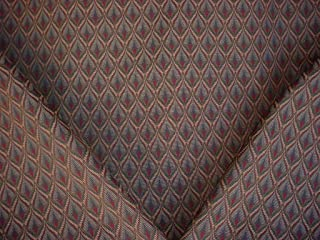 44H10 - Burgundy / Forest Green / Silver Blue / Gold Southwest Kilim Tapestry Designer Upholstery Drapery Fabric - By the Yard