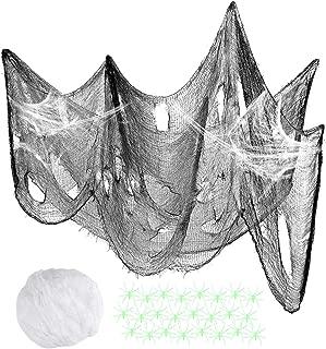 SUPVOX Halloween Spider Web Decoration Creepy Cloth DIY Scary Halloween Fake Spider Cobweb with Spooky Fabric
