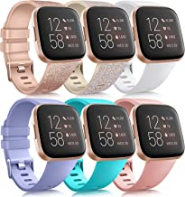 6 Pack Sport Bands Compatible with Fitbit Versa 2 / Fitbit Versa/Versa Lite/Versa SE, Classic Soft Silicone Replacement Wr...